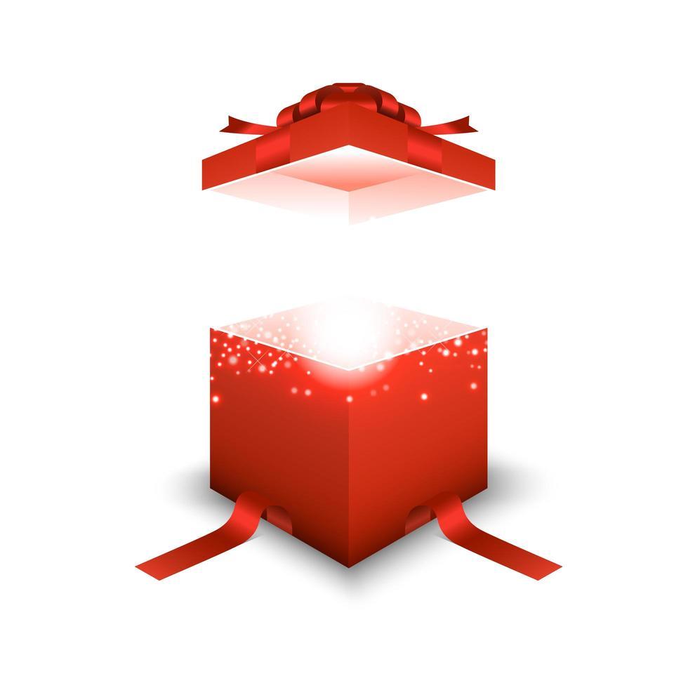 rode geschenkdoos op witte achtergrond vector