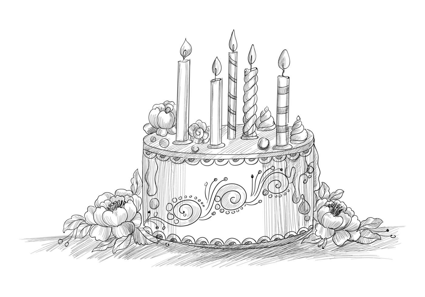 gelukkige verjaardag decoratieve cake met kaarsen lijn schets vector