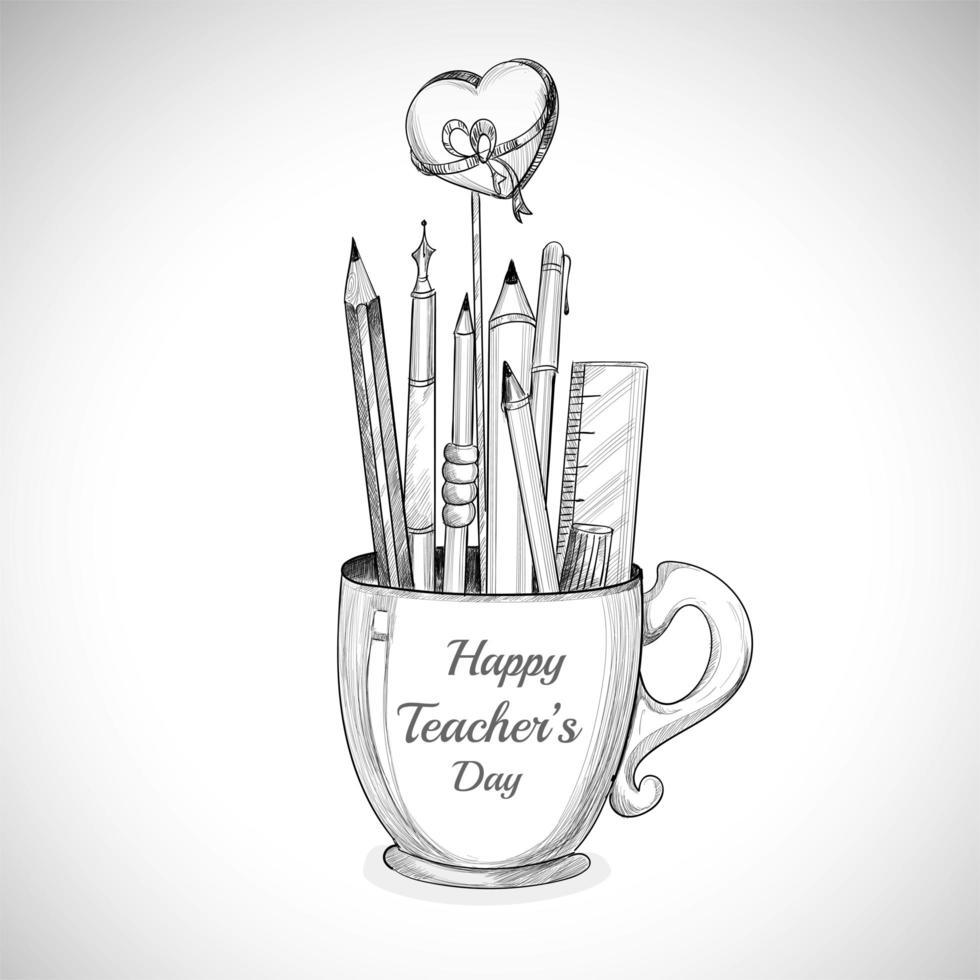 laten we de mok en de potloodschets van de gelukkige lerarendag vieren vector