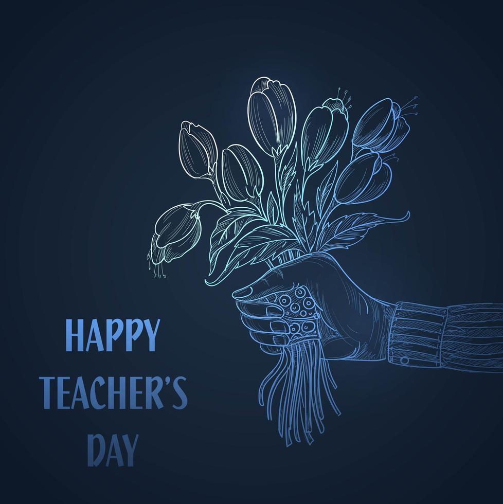 hand met boeket bloemen schets leraren dag achtergrond vector