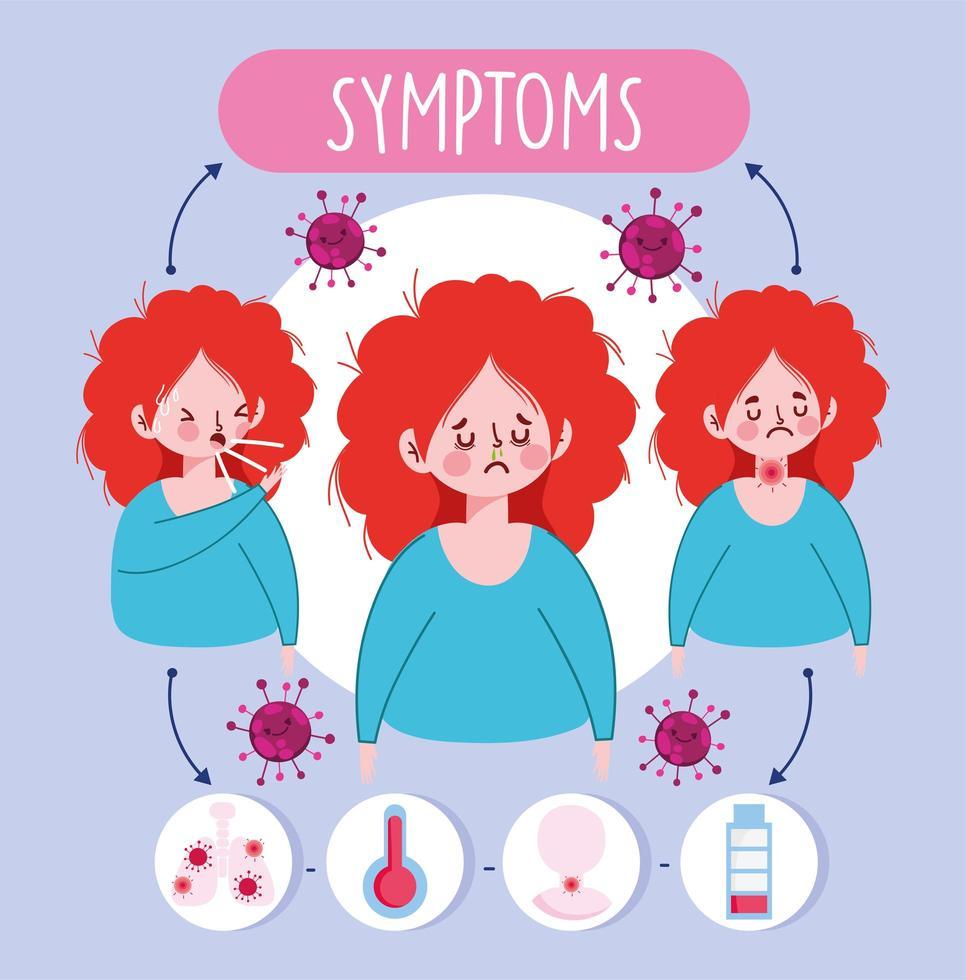 meisje met virale symptomen infographic vector