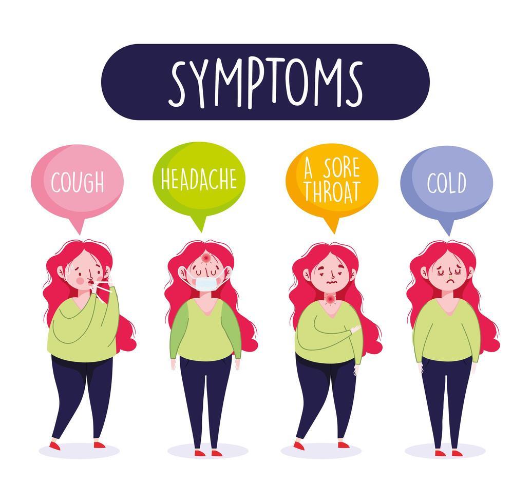 vrouwelijk personage met virale symptomen ingesteld vector