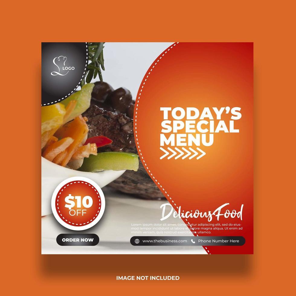 kleurrijke oranje speciale menu voedselbanners voor sociale media vector