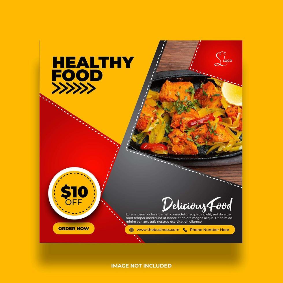 creatieve en kleurrijke restaurantvoedsel sociale media bannerpost vector