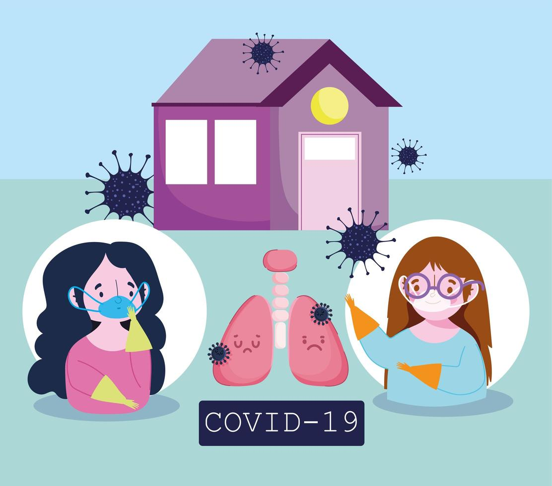coronaviruspreventie infographic met luchtwegaandoeningen vector