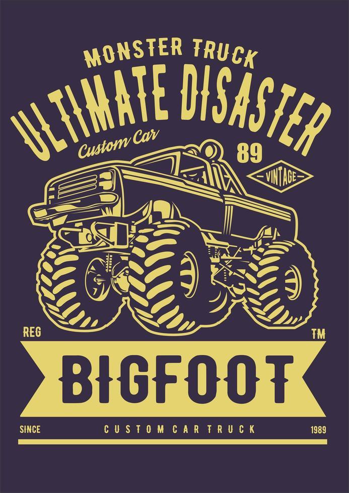 monster truck poster vector