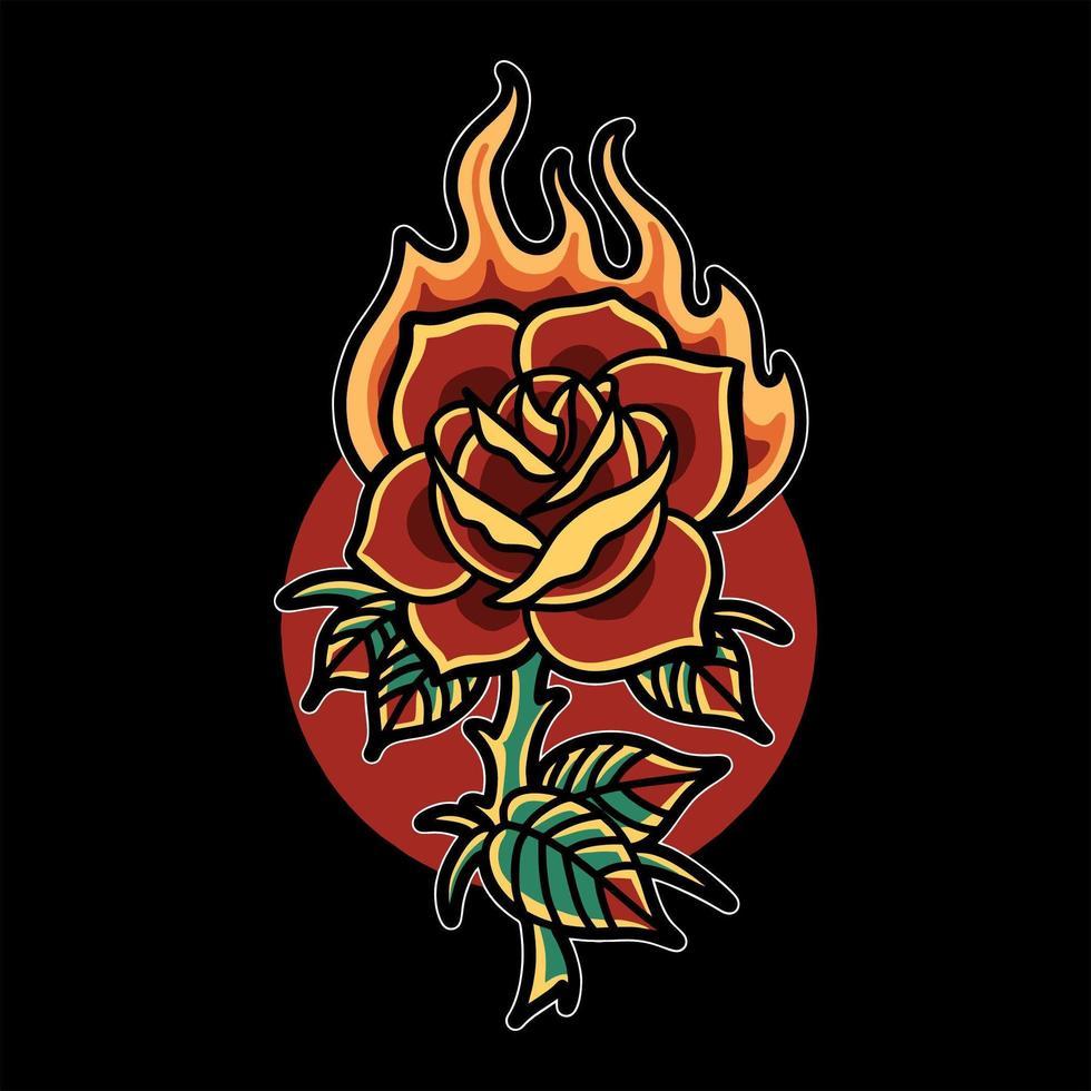 brandende roos tattoo vector
