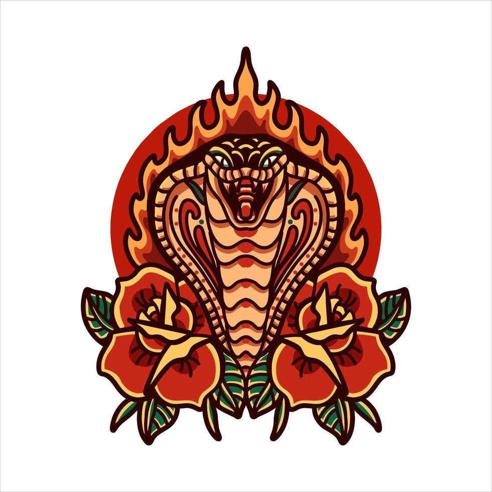 cobra met rozen tatoeage vector