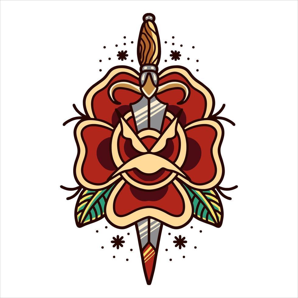 roos en dolk tattoo vector