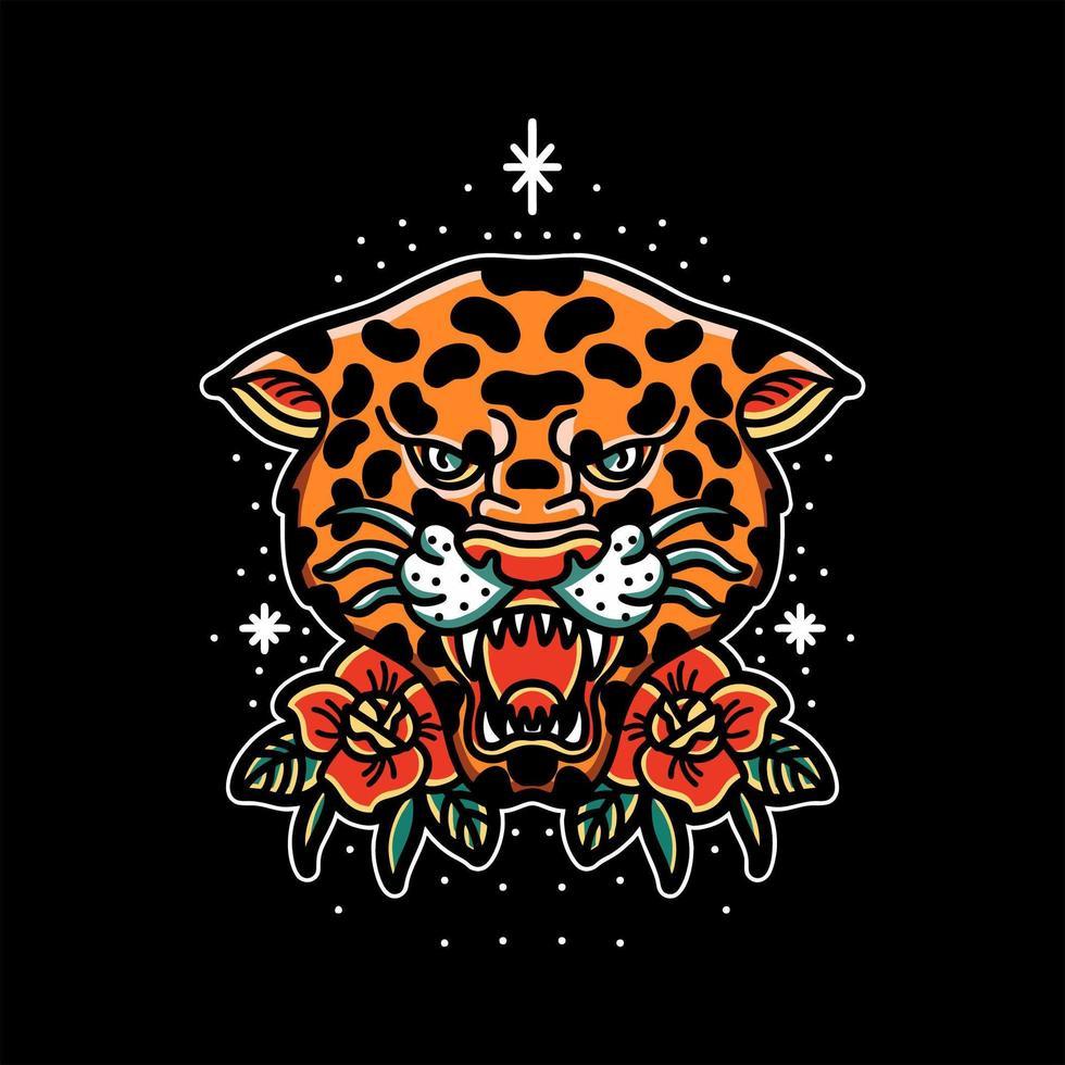 luipaard hoofd tattoo vector