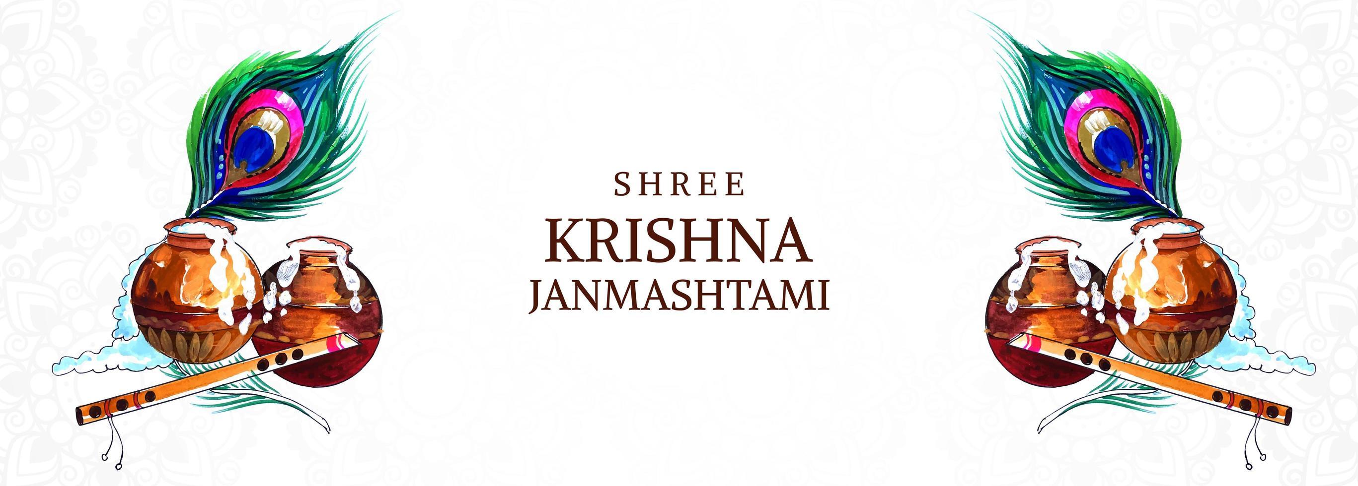 krishna janmashtami-banner met dahi handi-kaart vector