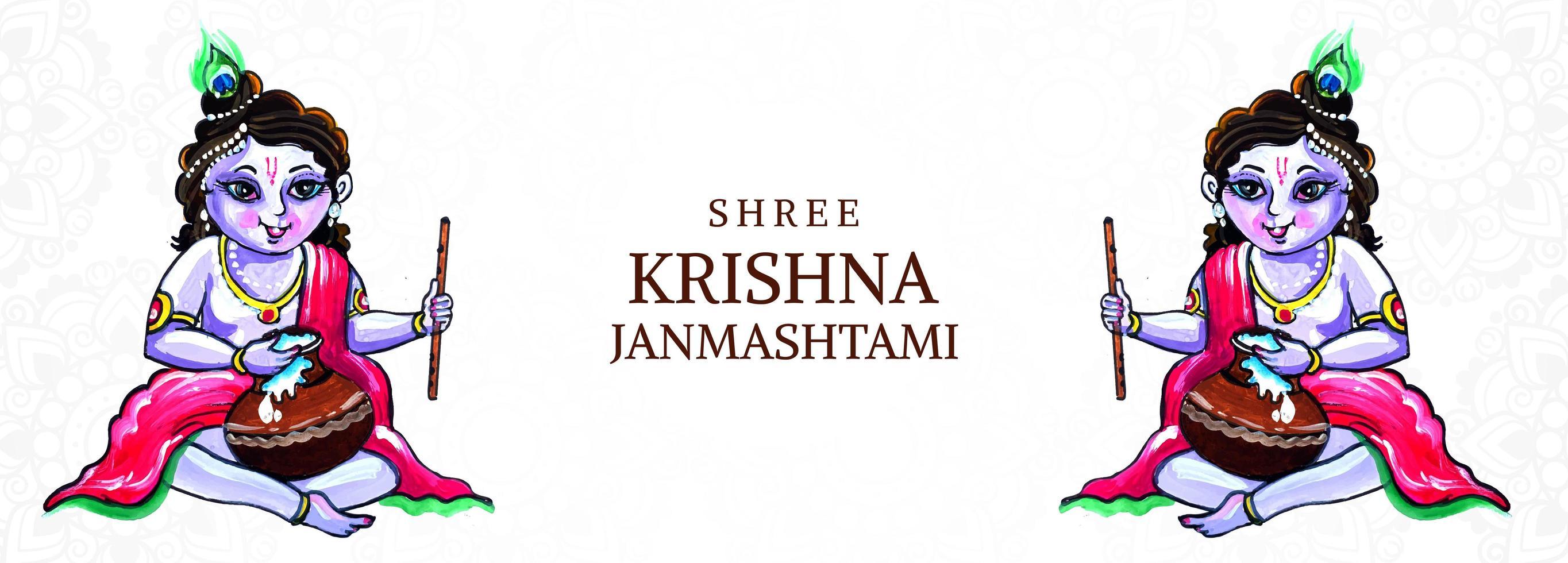 gelukkige krishna janmashtami heer krishna zittend met pot, fluit vector