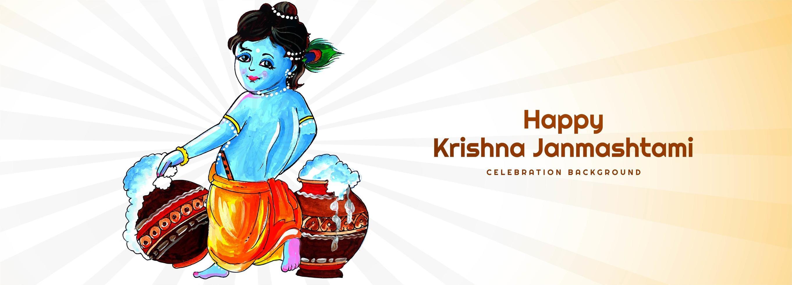 heer krishna wandelende janmashtami festival kaart banner achtergrond vector