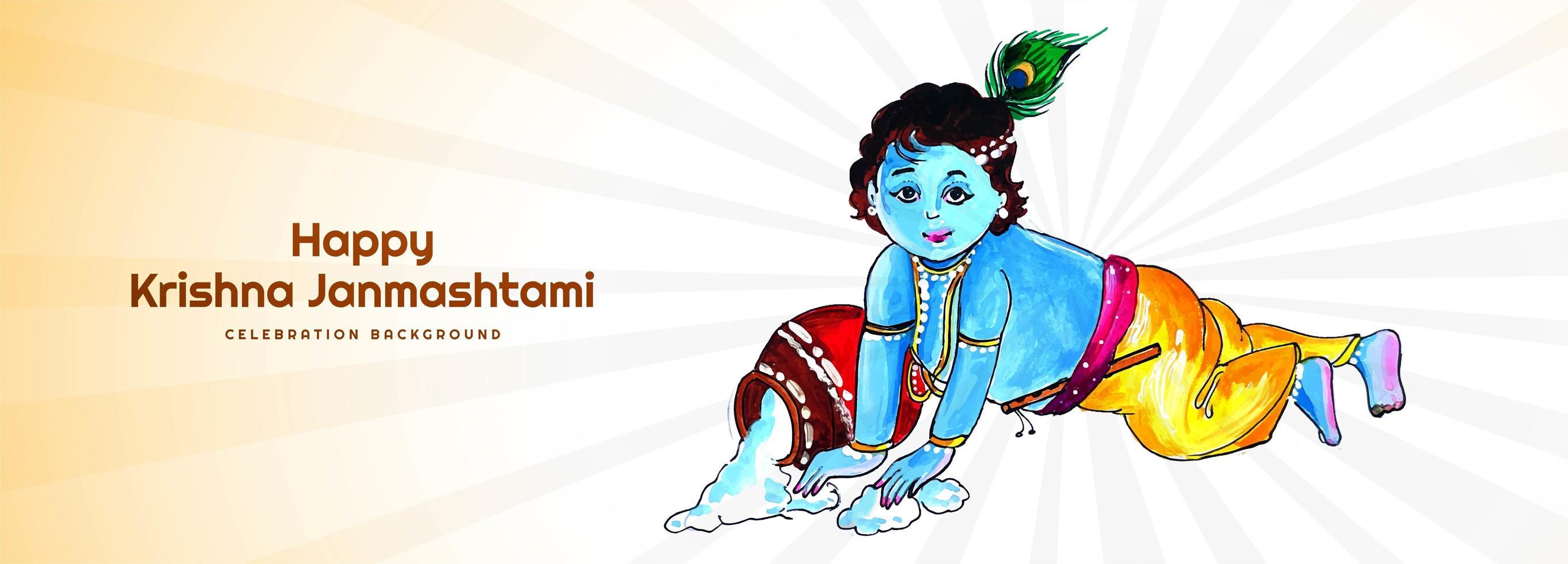 de gelukkige krishna dient het festivalbanner van pap janmashtami in vector
