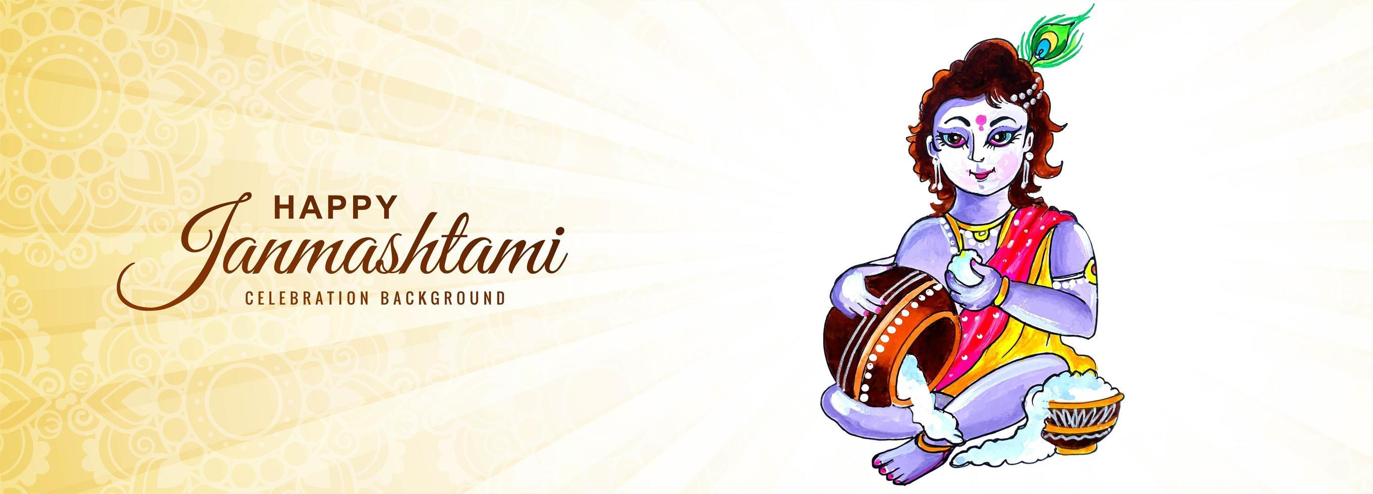 gelukkige janmashtami krishna die de banner van de papgroet eten vector