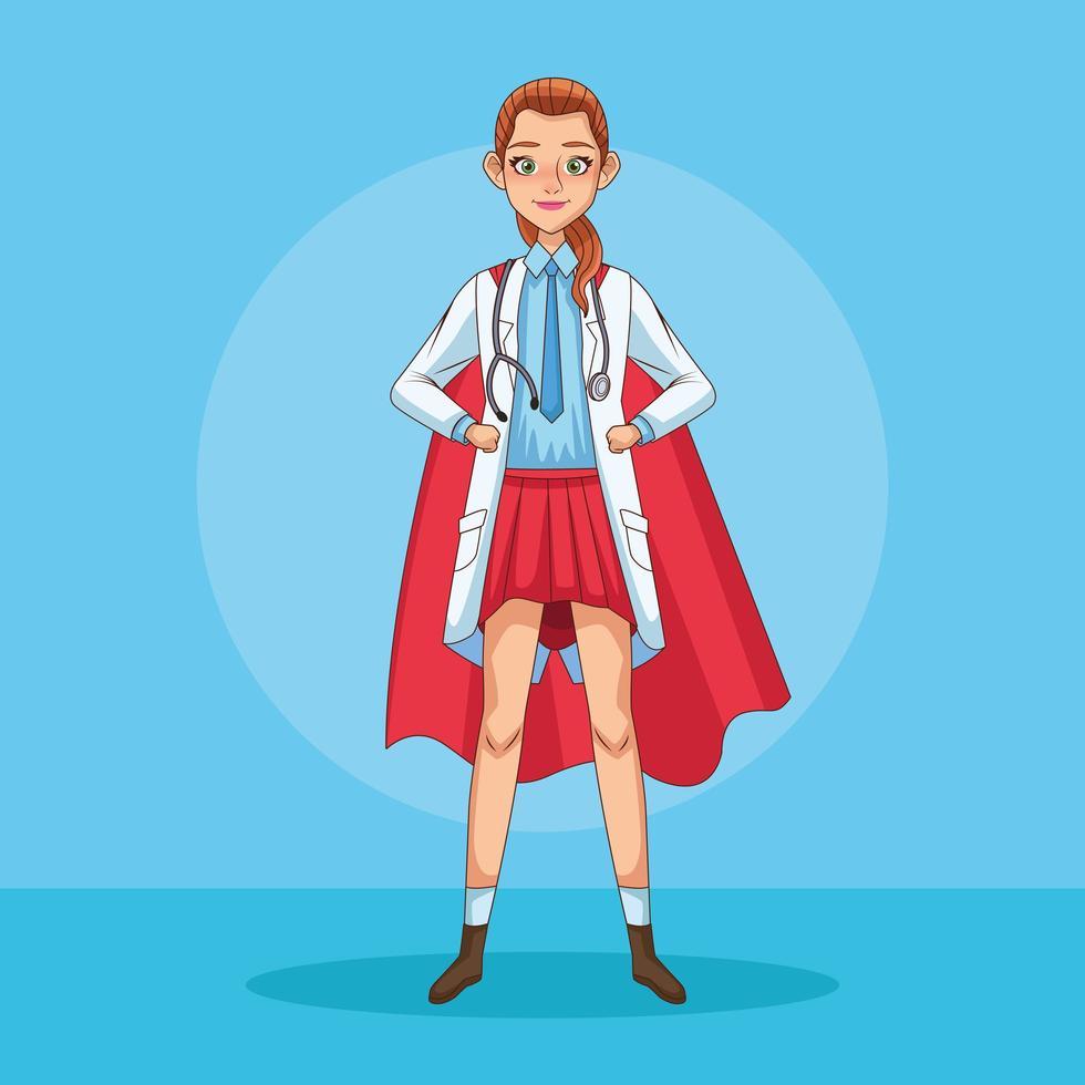 een super vrouwelijke dokter met een heldenmantel vector