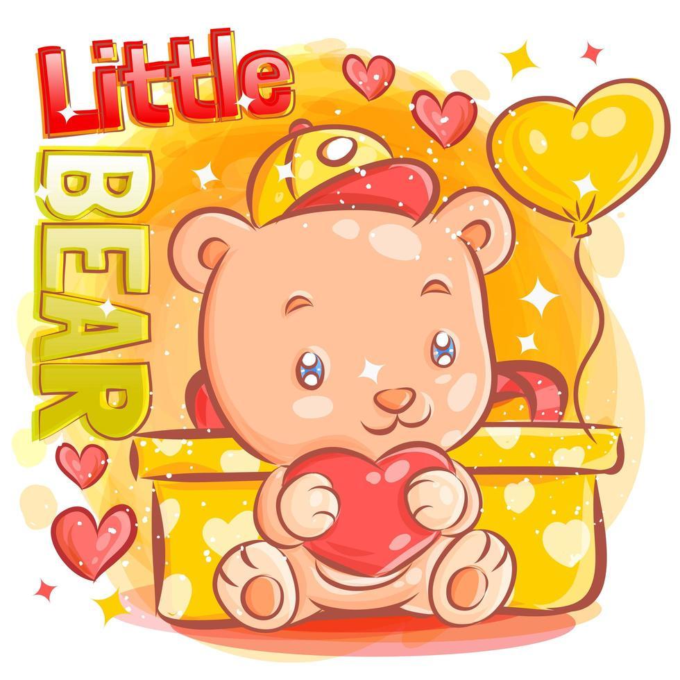 schattige jongen beer bedrijf hart zitten door Valentijnsdag geschenk vector
