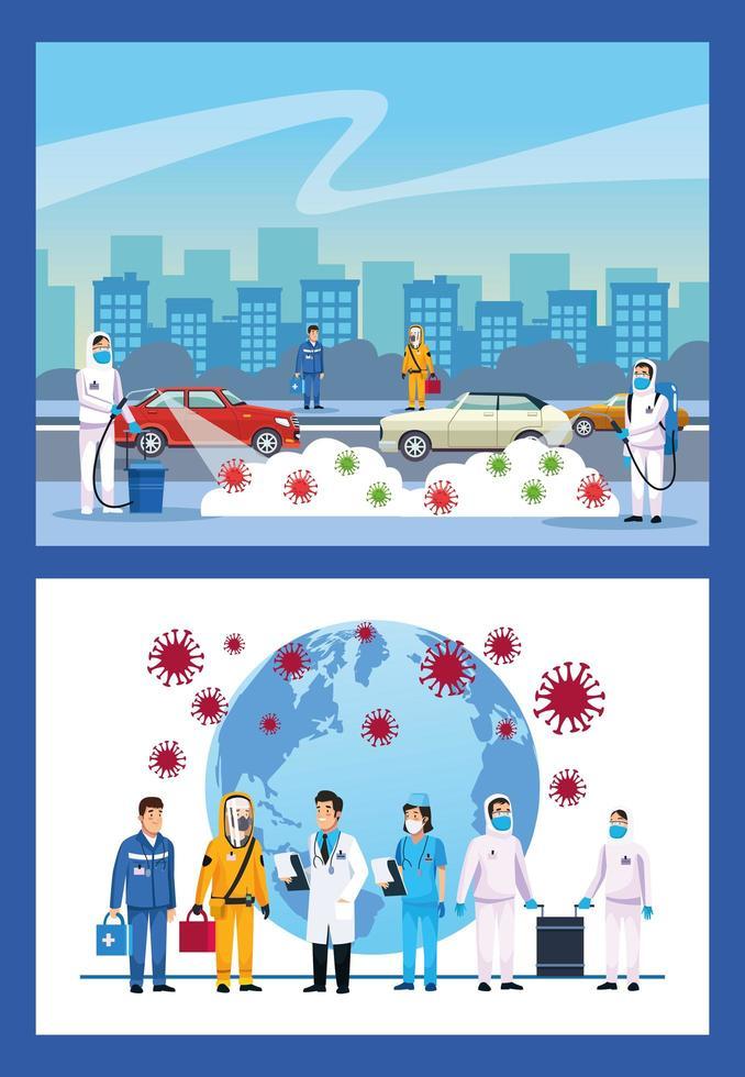 biologisch gevaarlijk reinigende personen en covid 19 deeltjes vector