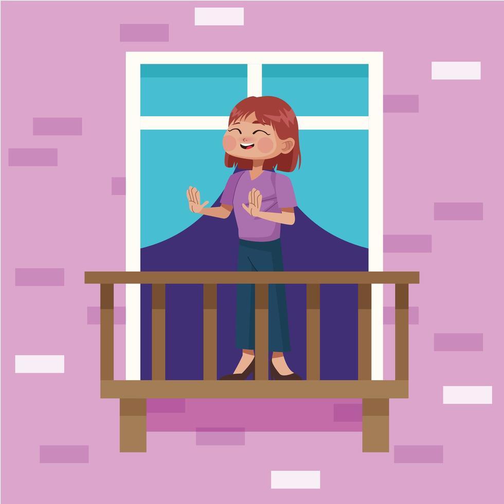 jonge vrouw blijft thuis in appartement balkon vector