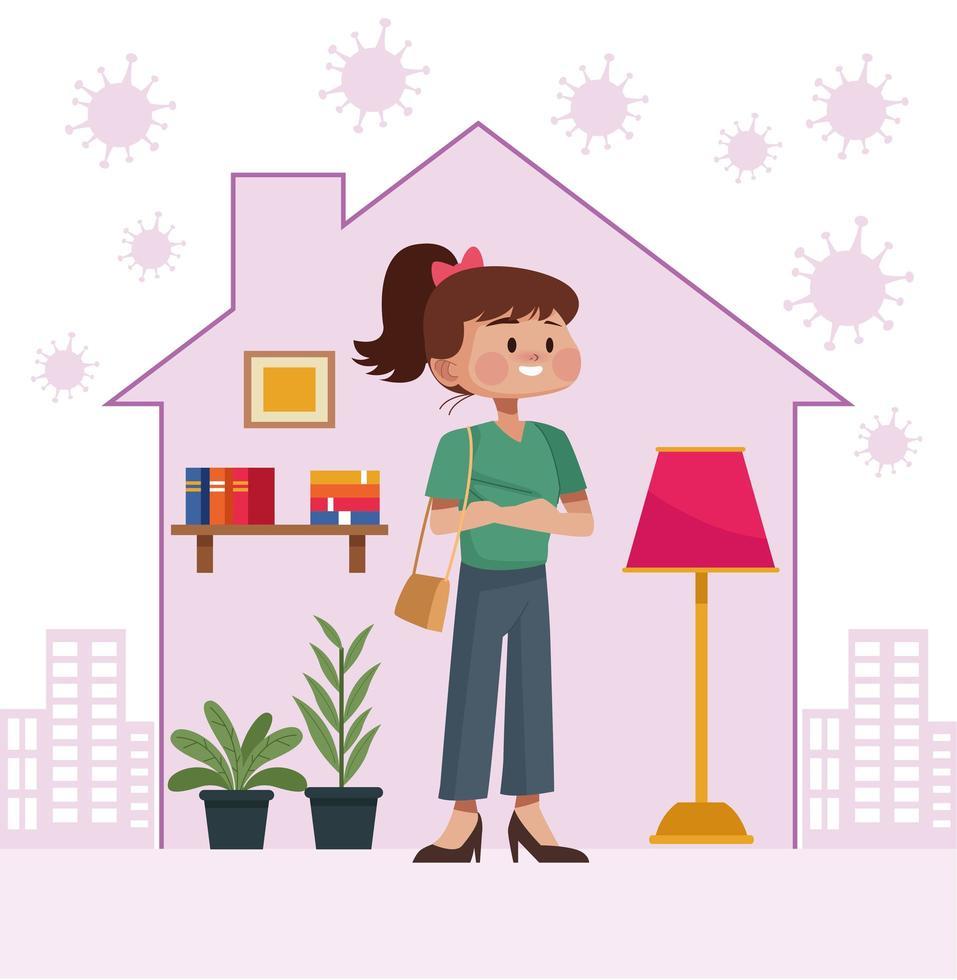 jonge vrouw blijft thuis in huisvorm vector