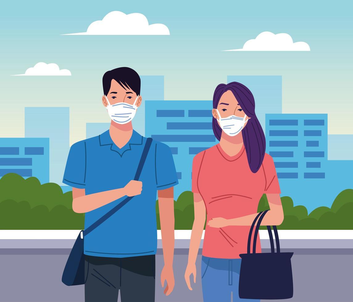 jong stel met gezichtsmasker voor coronavirus vector