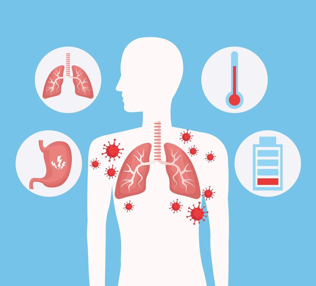 menselijk silhouet met longen en covid 19 pictogrammen instellen vector