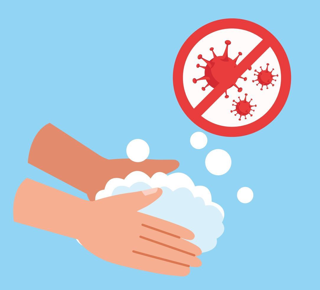 handen wassen met stop covid 19 pictogram vector