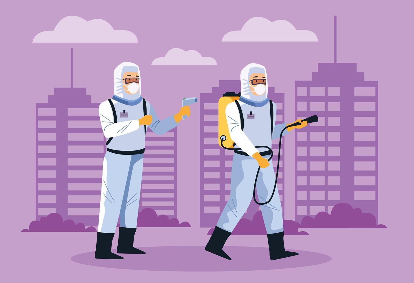 bioveiligheidsmedewerkers desinfecteren straat tegen covid 19 vector