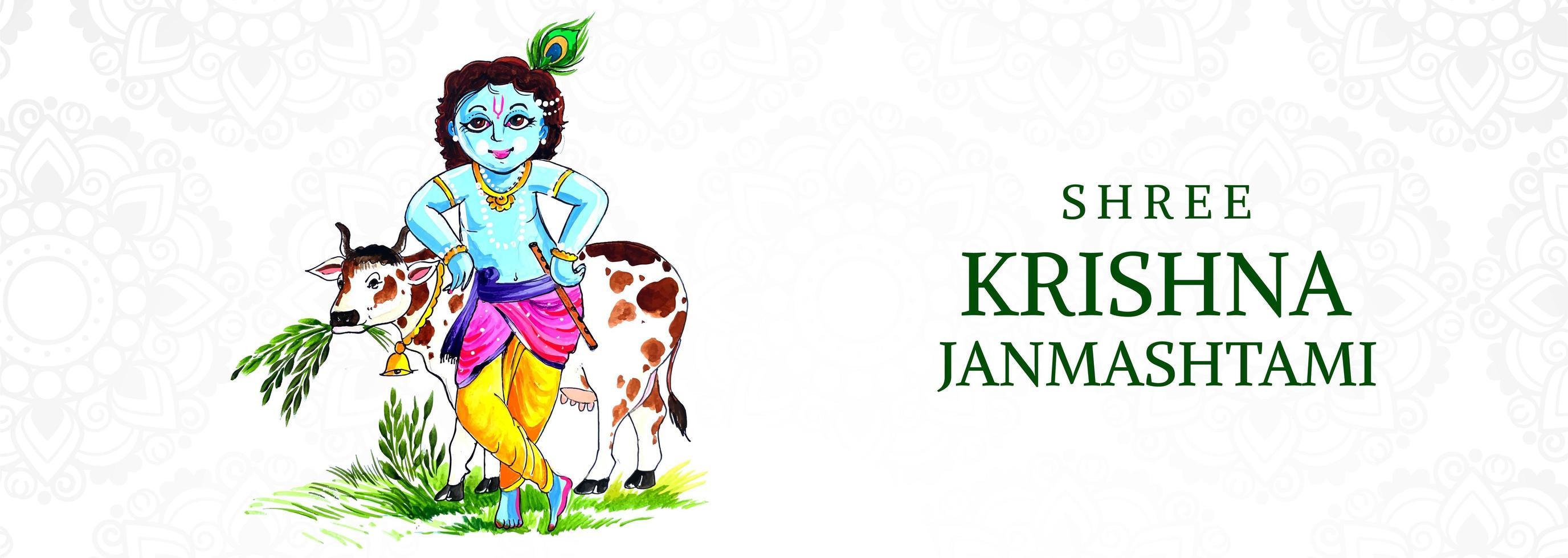 gelukkige krishna die op het festivalbanner van koe janmashtami leunt vector