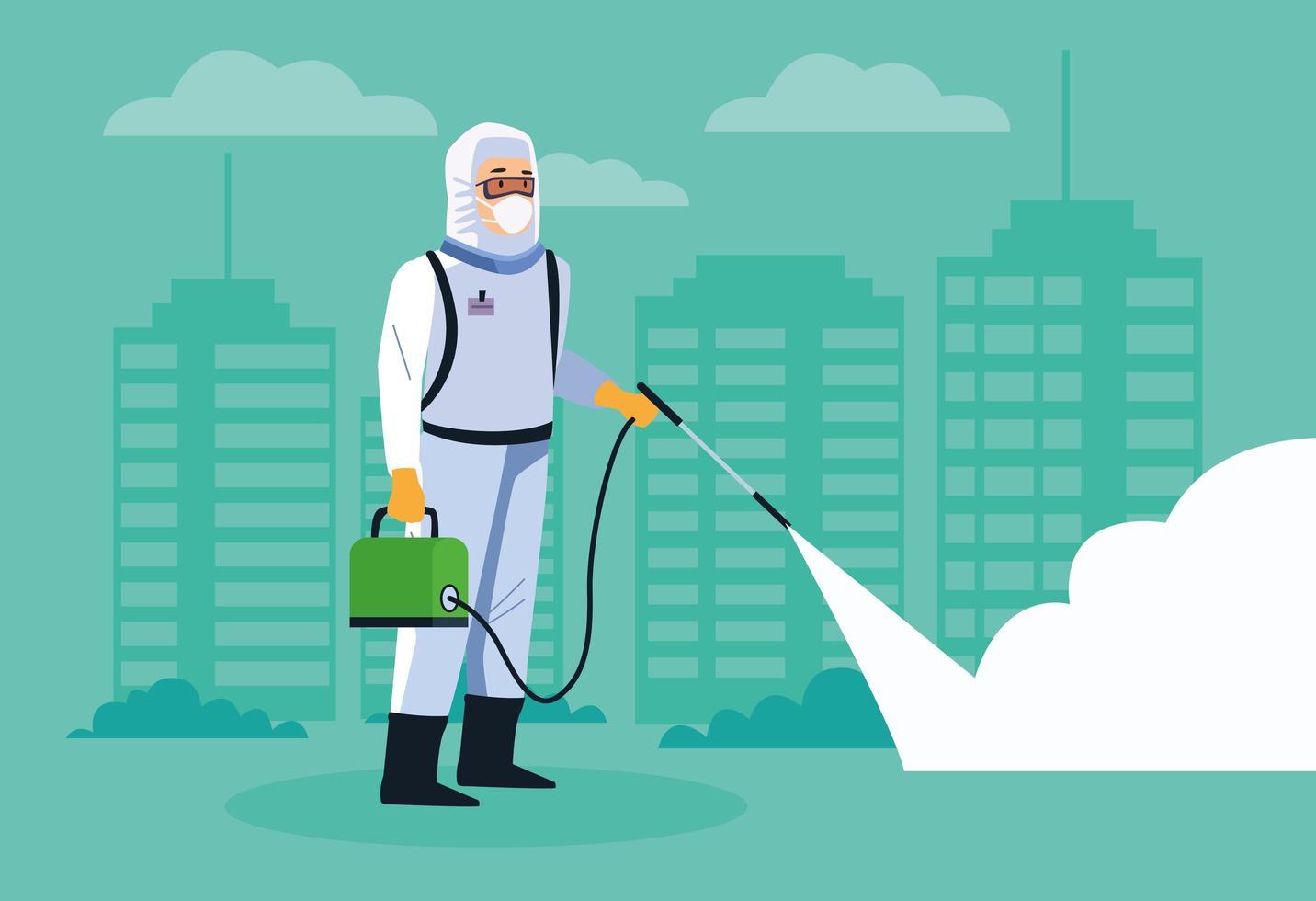 bioveiligheidsmedewerker desinfecteert straat vector