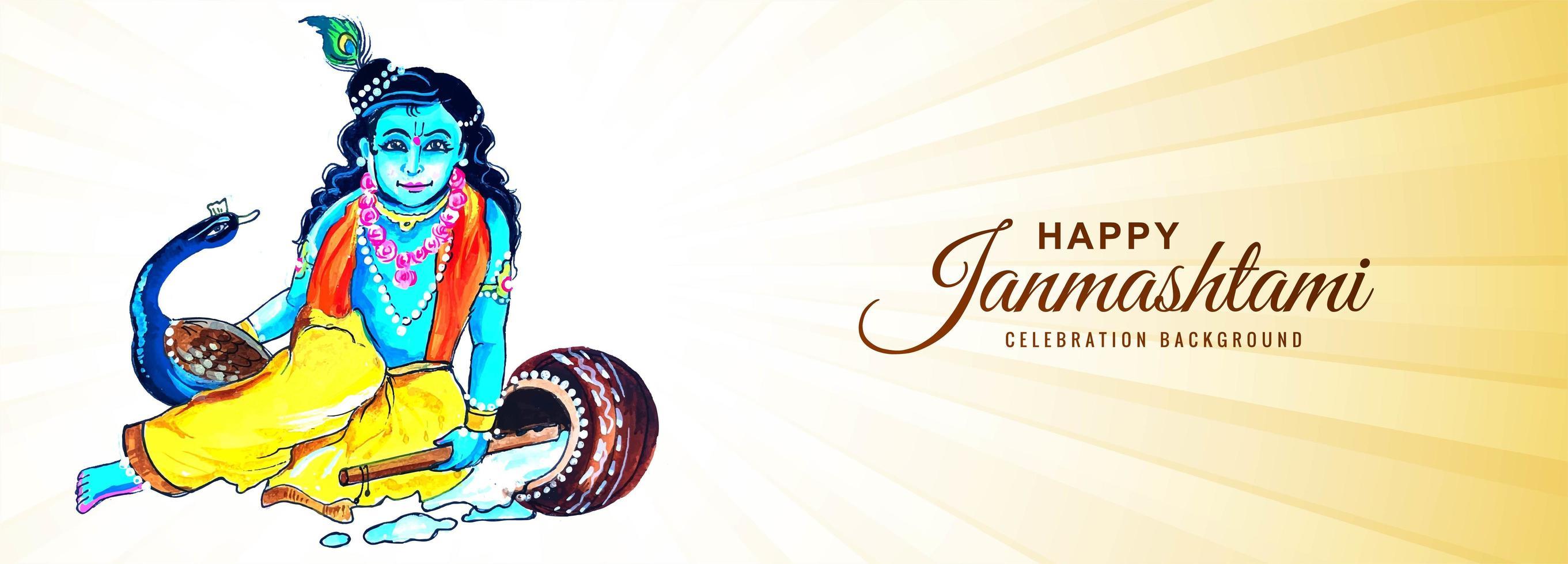 heer krishna zittend met pauw janmashtami banner achtergrond vector