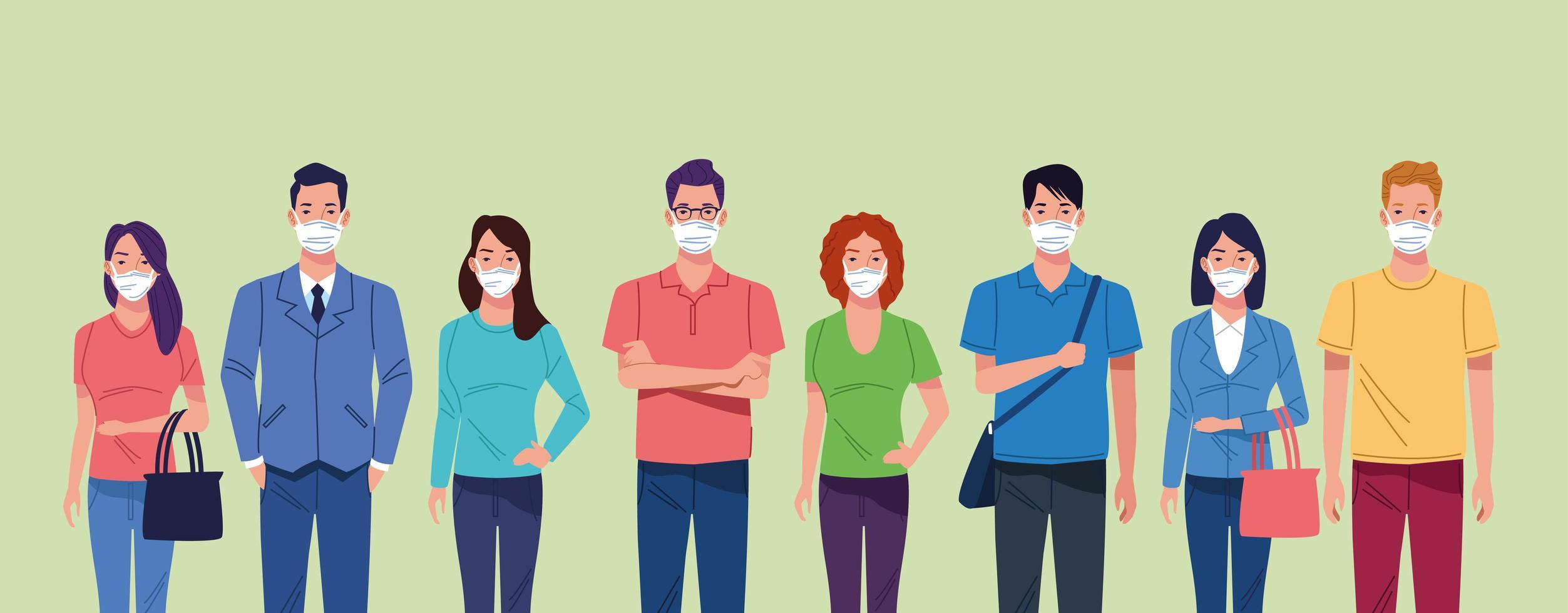 groep mensen die gezichtsmasker gebruiken voor coronavirus vector