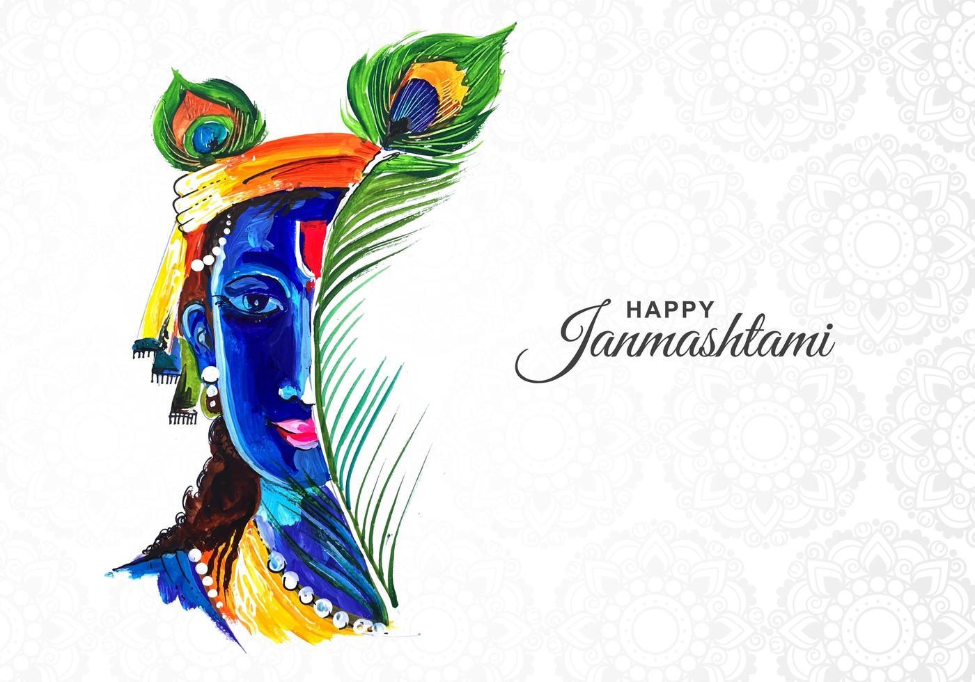 kleurrijke krishna half gezicht janmashtami kaart achtergrond vector