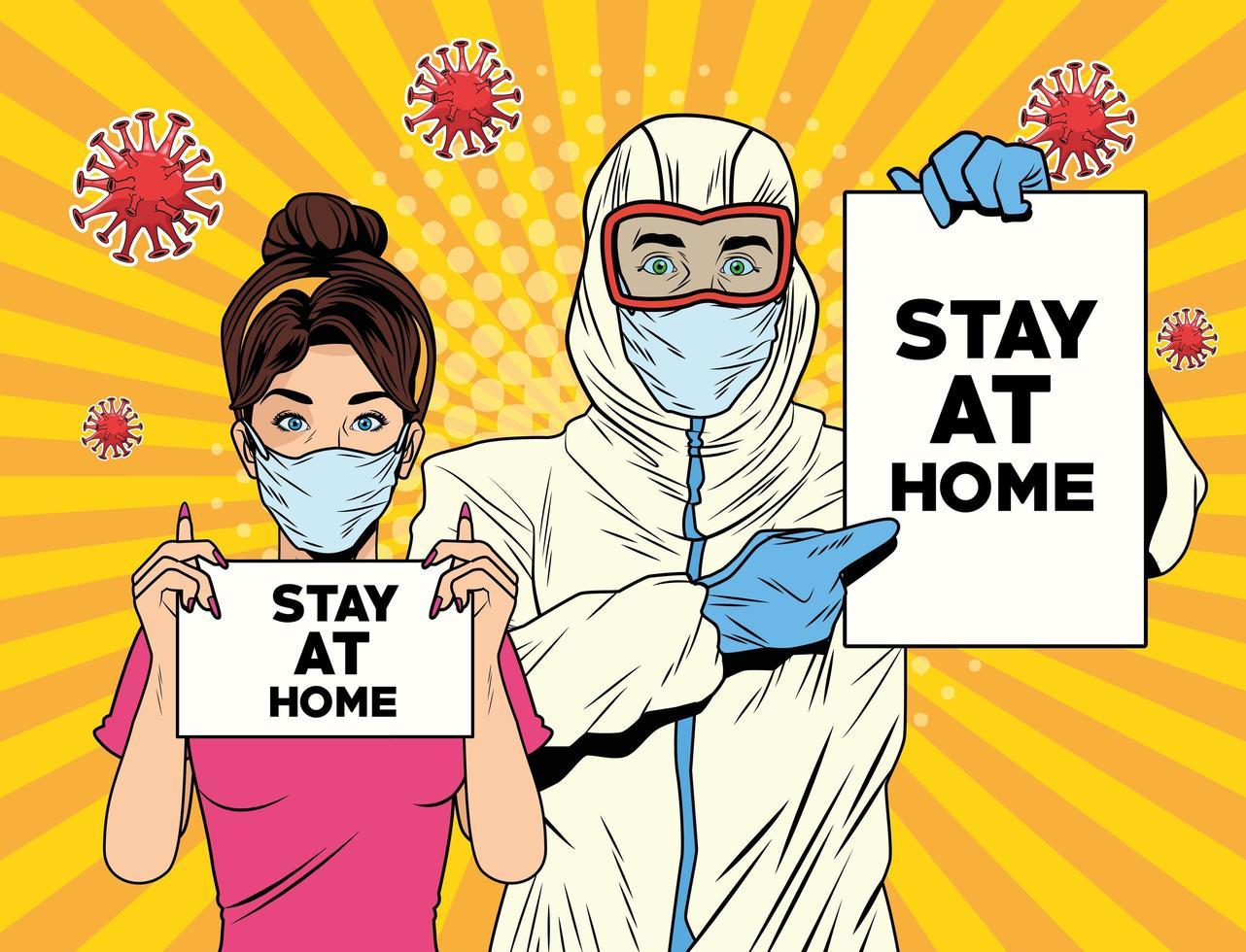 vrouw en een man met bioveiligheidspak vector