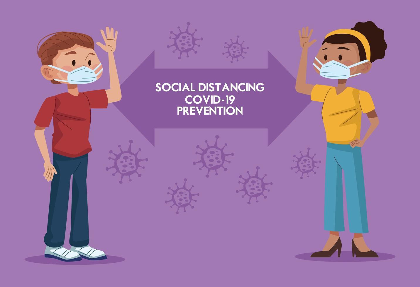 koppel met gezichtsmaskers en het beoefenen van sociale afstand vector