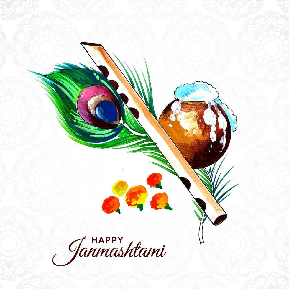 kleurrijke pauwenveer religieuze krishna janmashtami kaart vector
