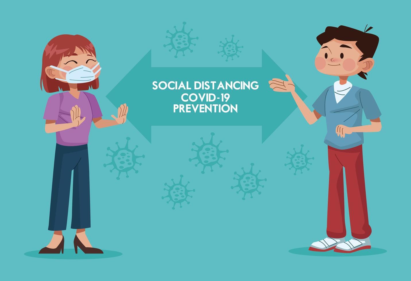 paar dat gezichtsmasker draagt en sociale afstand oefent vector