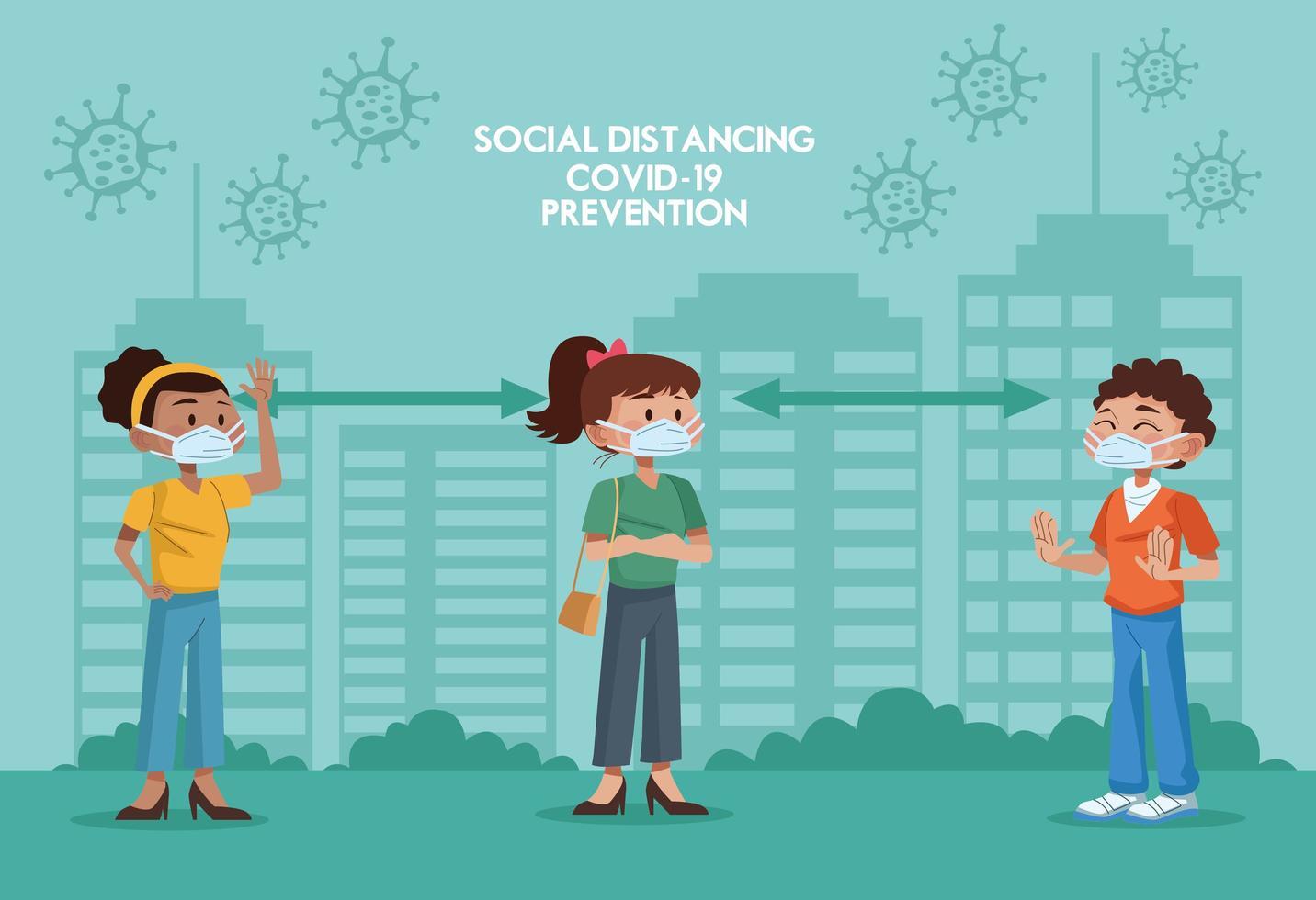 mensen met maskers en het oefenen van sociale afstand vector