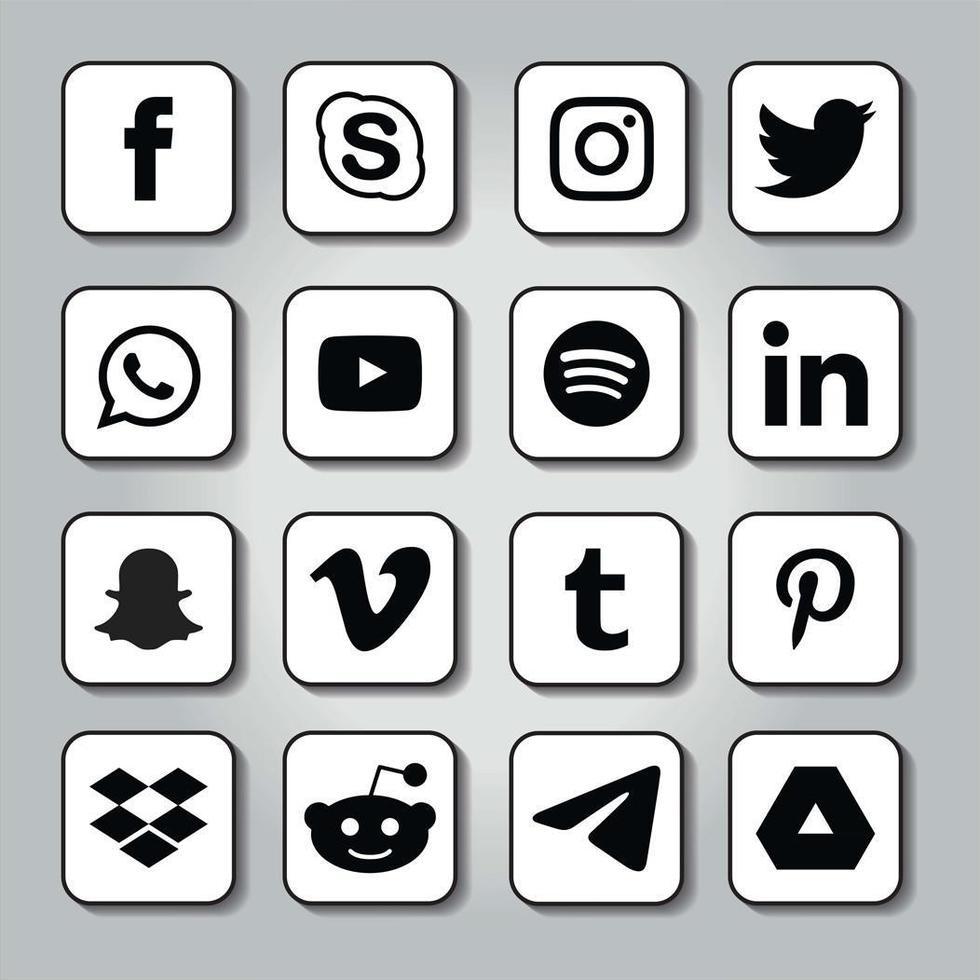 afgeronde vierkante in de schaduw gestelde sociale media-emblemen vector