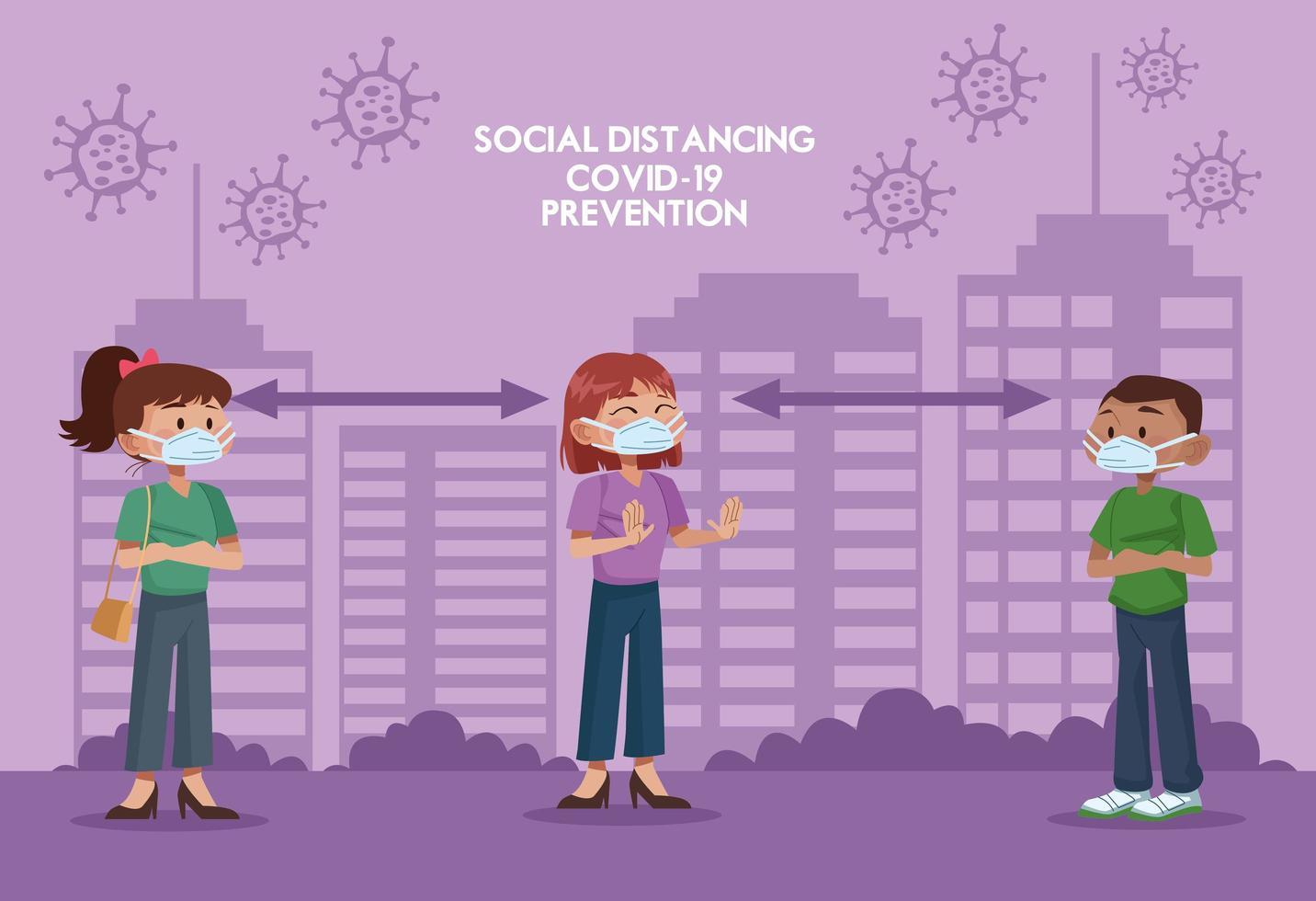 groep mensen die gezichtsmaskers dragen en sociale afstand beoefenen vector
