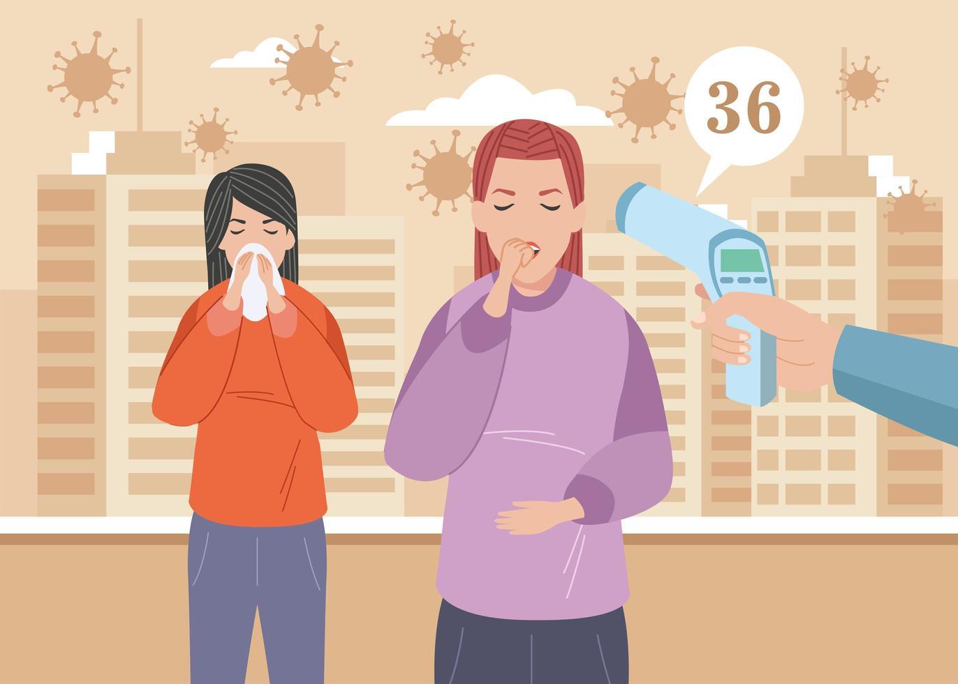 zieke meisjes met covid 19-symptomen vector