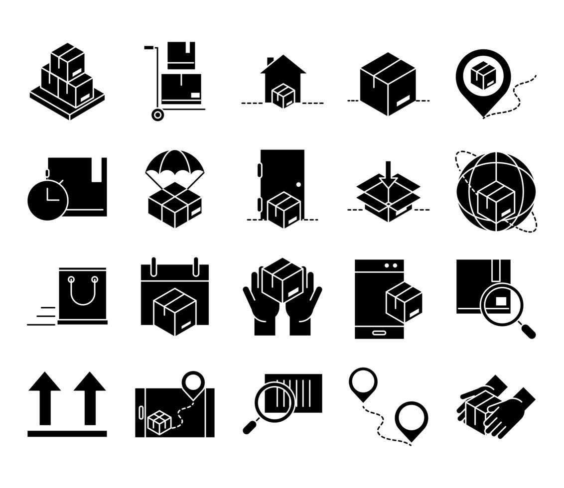 levering en logistiek zwart icon pack vector