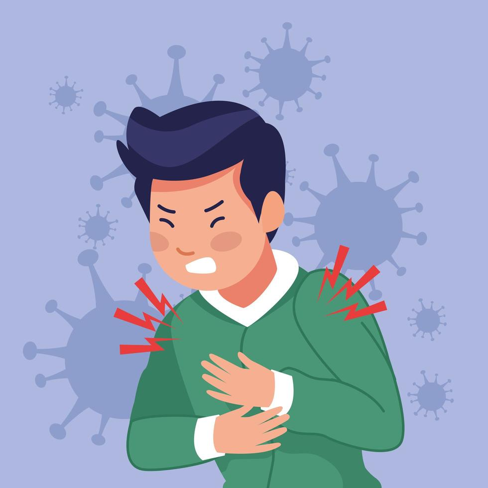 jonge zieke man met pijn op de borst als gevolg van covid19 vector