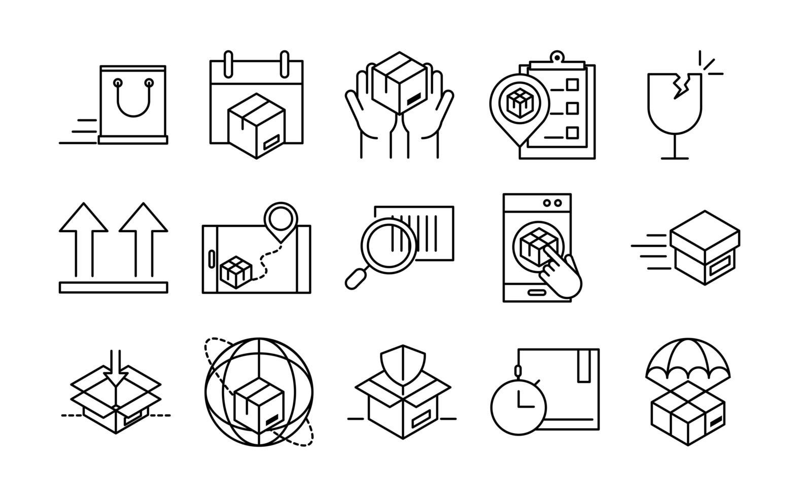 levering en logistiek pictogrammen vector