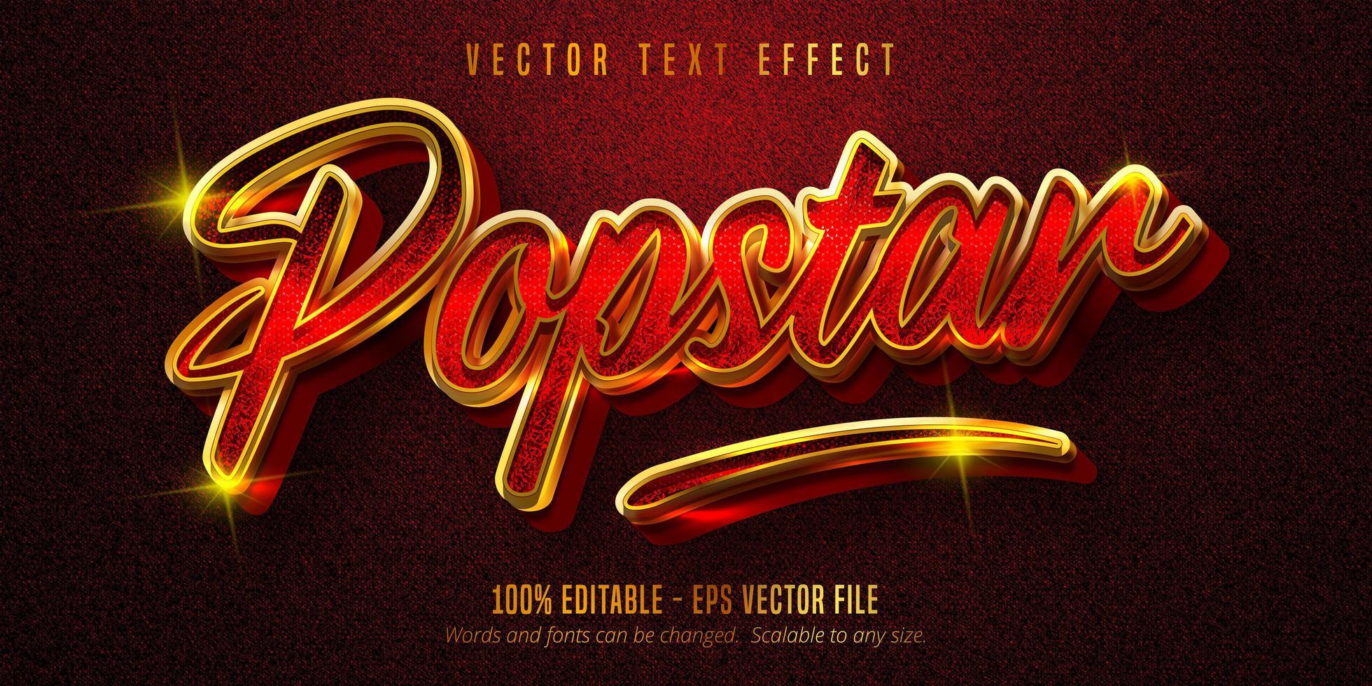 popstar-tekst, glanzend rood en gouden teksteffect vector