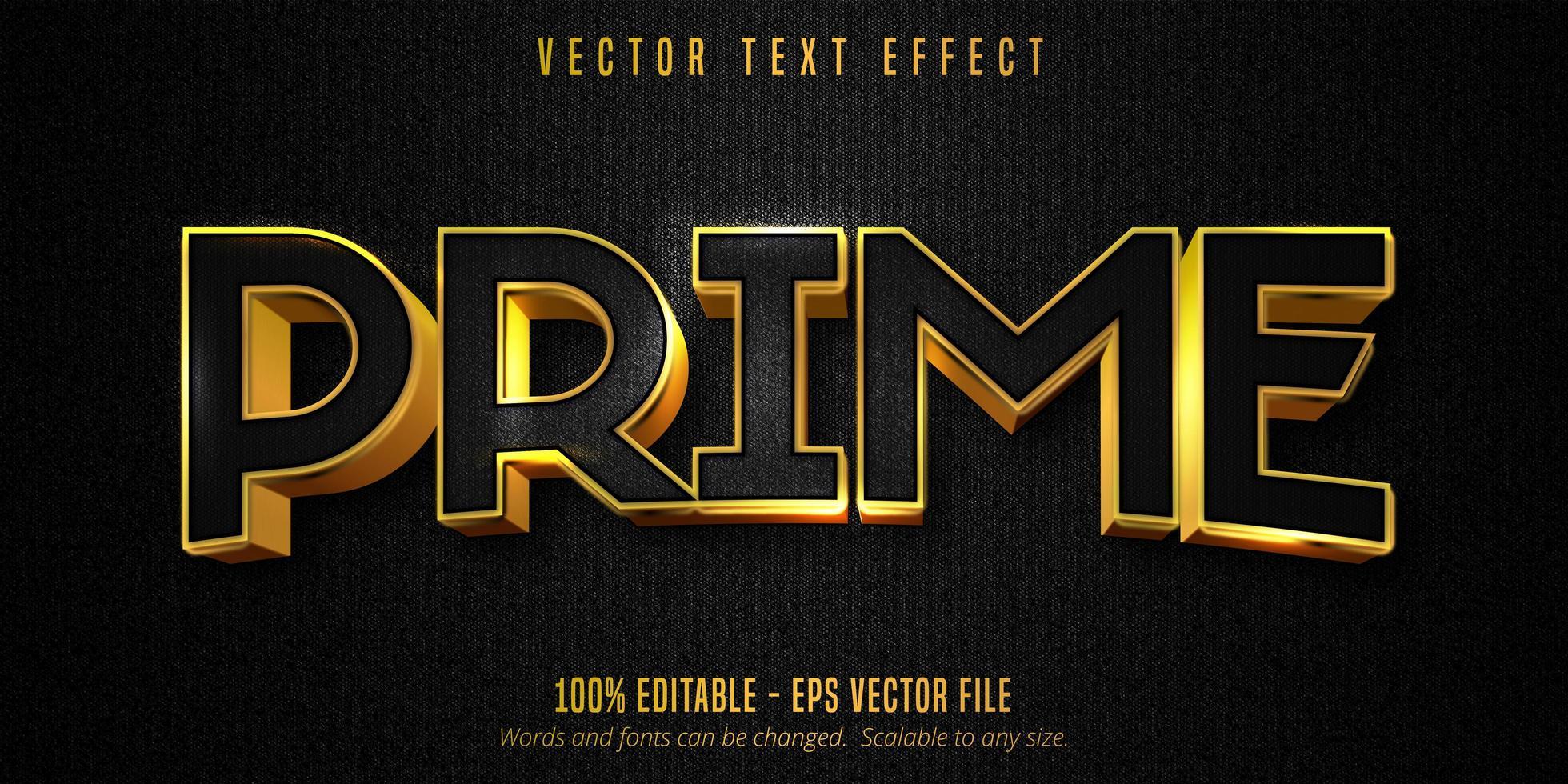 prime-tekst, luxe gouden teksteffect op zwart canvas vector