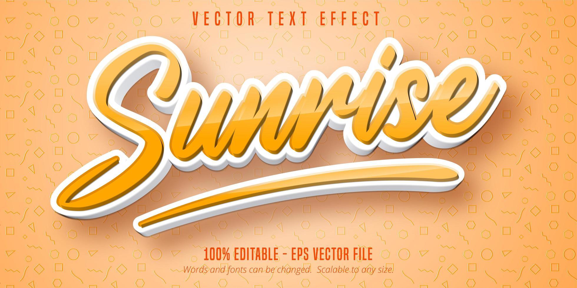 zonsopgangtekst, teksteffect in cartoonstijl vector