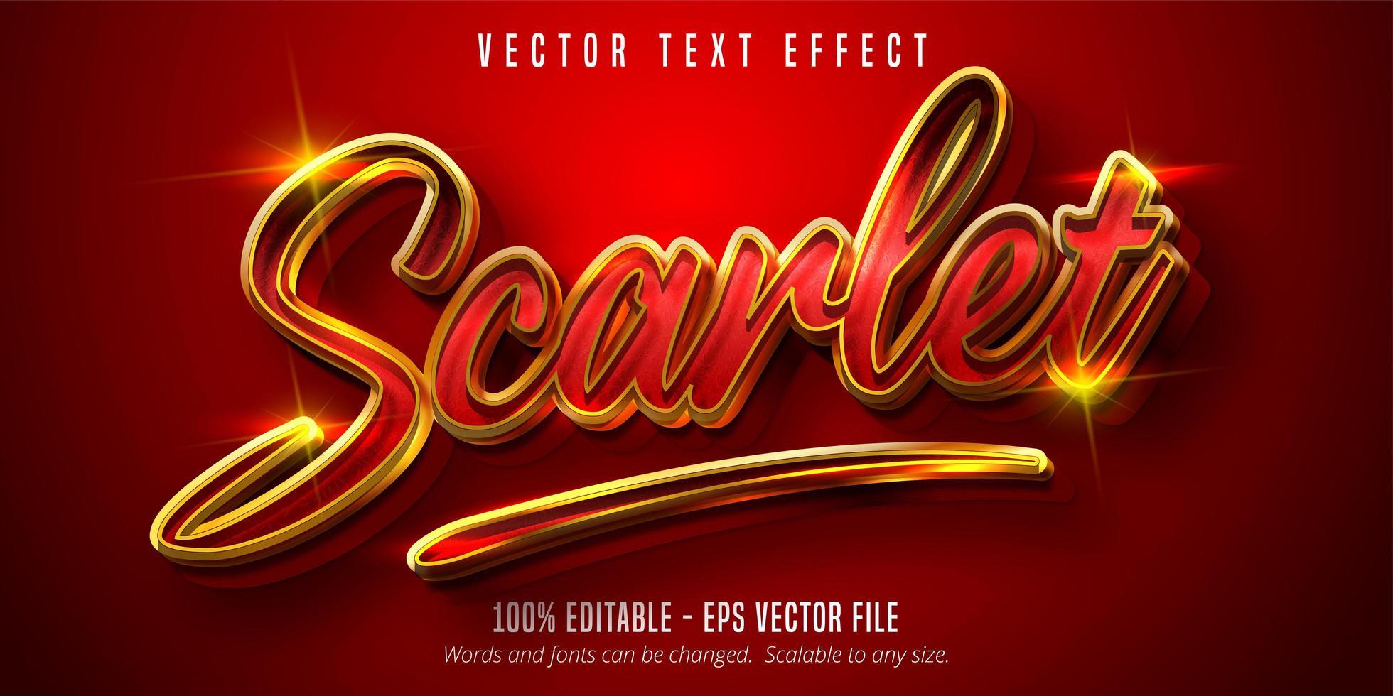 scharlaken tekst, glanzend goud en rood stijl teksteffect vector