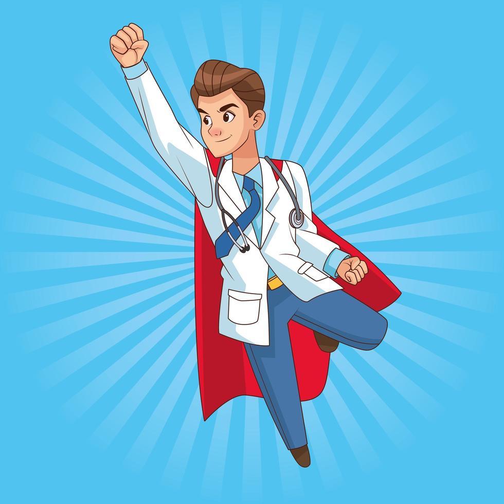 super dokter vliegende komische karakter vector