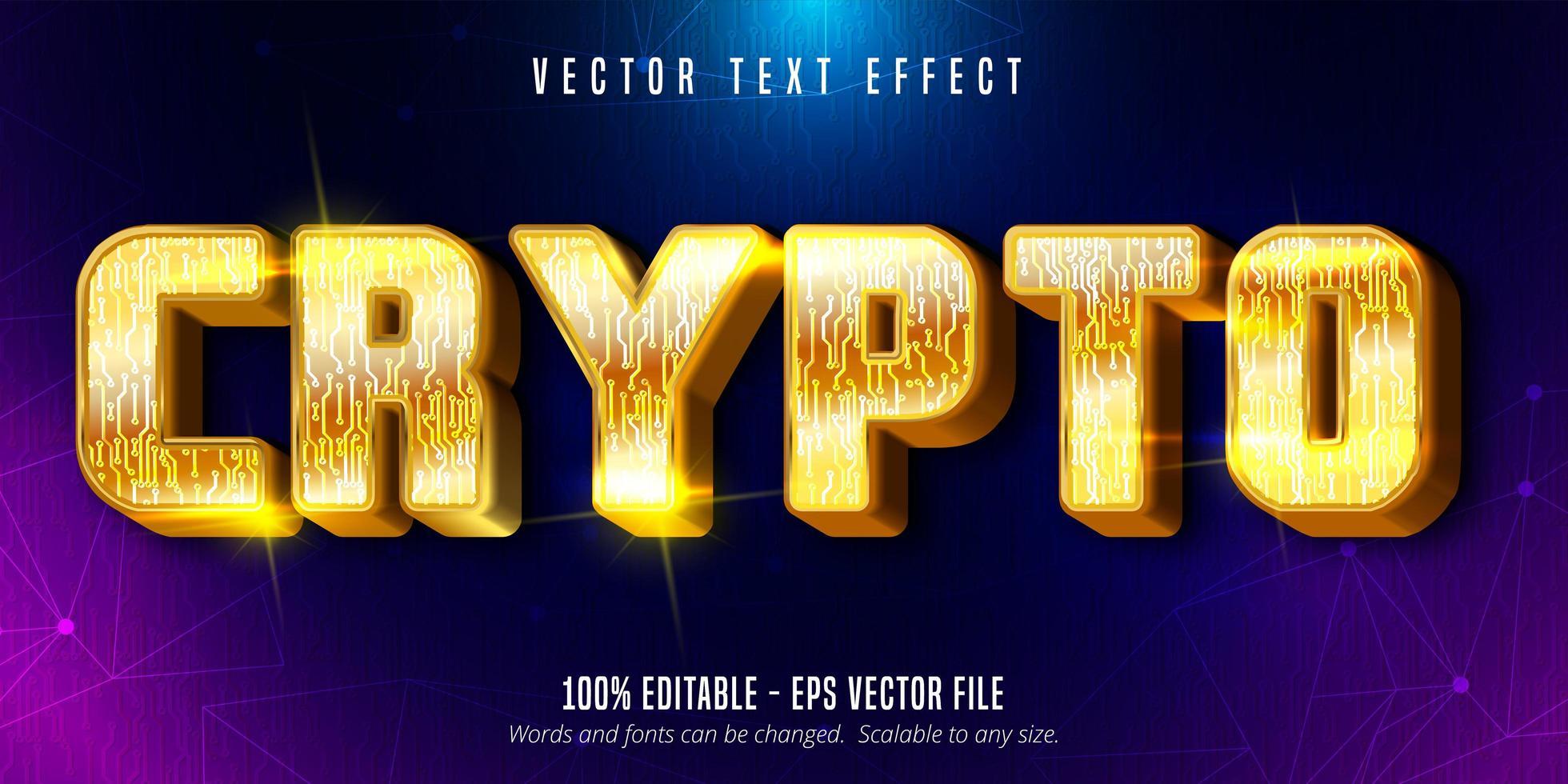 crypto-tekst, glanzend teksteffect in gouden stijl vector